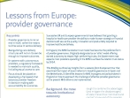 Lessons from Europe - Provider Governance